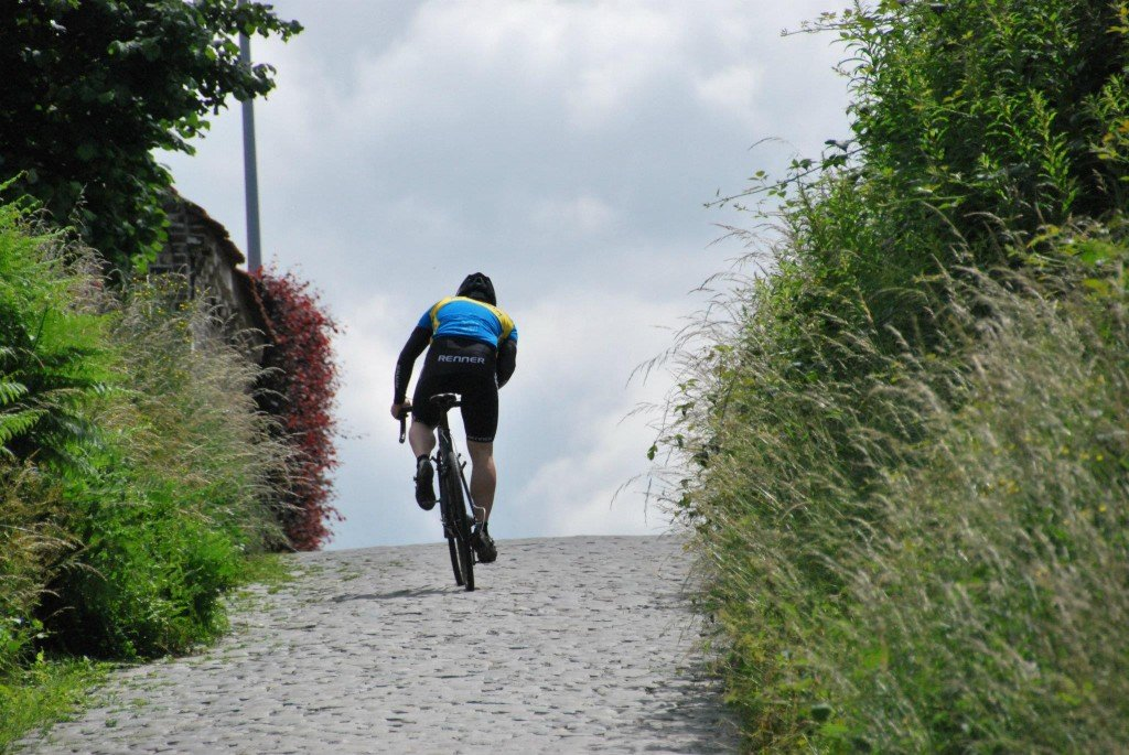 Gregg Germer at the top of the Koppenberg during his 24 hour ride.