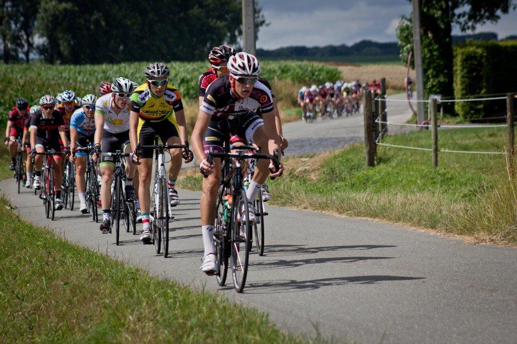 Noah Granigan pushing the pace in a Belgian bicycle race