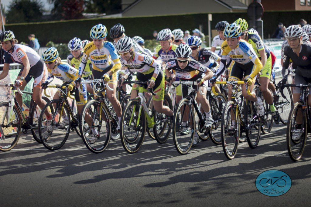 Cyclocross Women on the start line in the Superprestige Ruddervoorde in Belgium