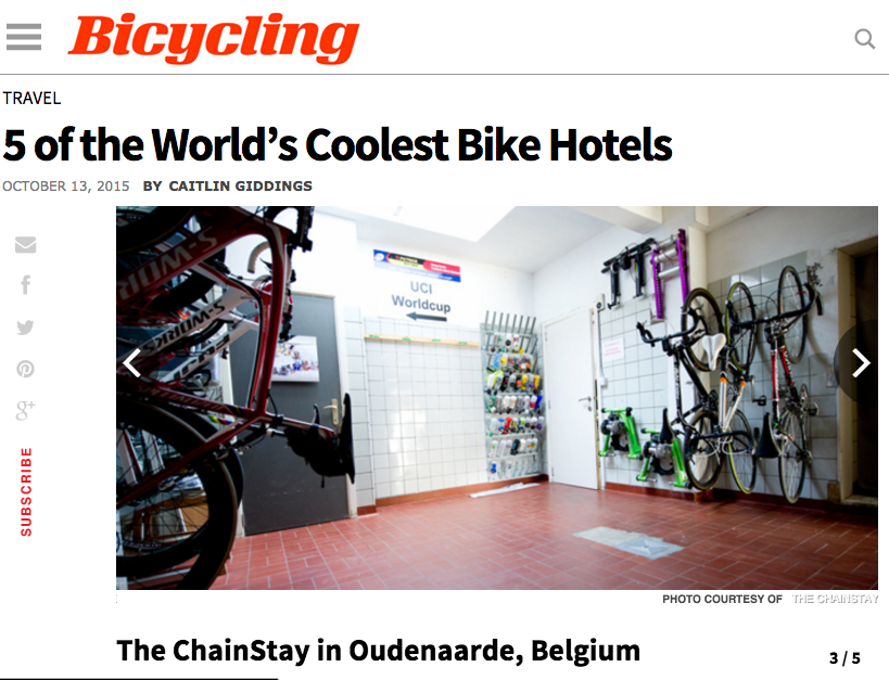 The ChainStay makes the Top 5 Coolest Bike Hotels list from Bicycling.com